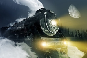 2860 Royal Hudson Steam Locomotive on Route Through British Columbia Forest at Night. Semi-Streamlined 4-6-4 Hudson Steam Locomotive - British Columbia Canada. Digitally Generated illustration. Made From Real Royal Hudson Locomotive Photography.
